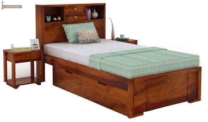 Felton Single Bed With Storage (Honey Finish)-1