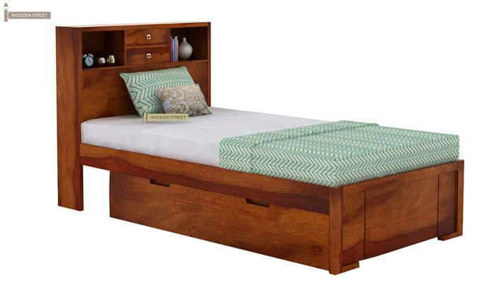 Felton Single Bed With Storage (Honey Finish)-2