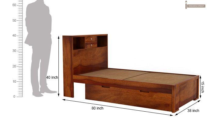 Felton Single Bed With Storage (Honey Finish)-4