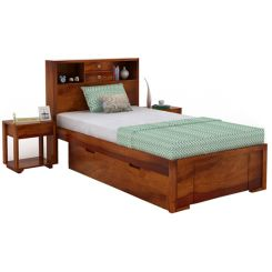 Felton Single Bed With Storage (Honey Finish)