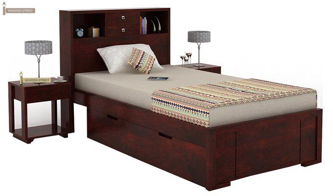 Felton Single Bed With Storage (Mahogany Finish)-2