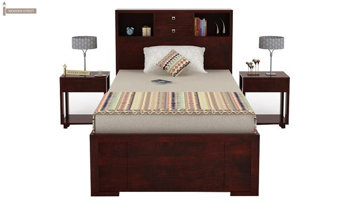 Felton Single Bed With Storage (Mahogany Finish)-5