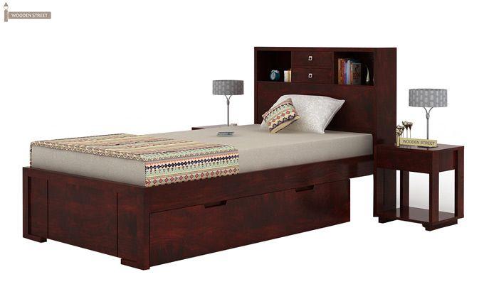 Felton Single Bed With Storage (Mahogany Finish)-6