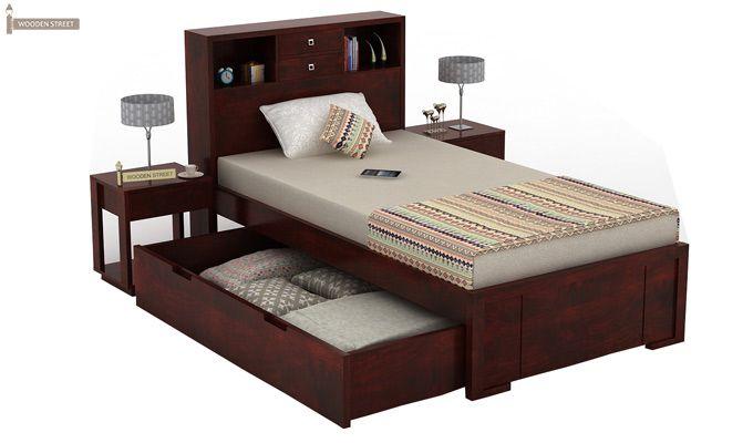 Felton Single Bed With Storage (Mahogany Finish)-7