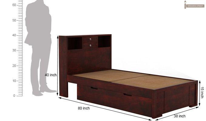 Felton Single Bed With Storage (Mahogany Finish)-8