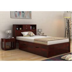 Felton Single Bed With Storage (Mahogany Finish)