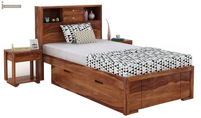 Felton Single Bed With Storage (Teak Finish)-1