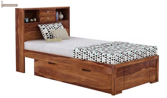 Felton Single Bed With Storage (Teak Finish)-2
