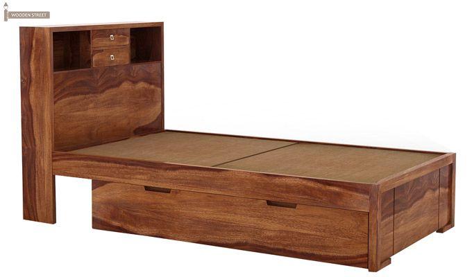 Felton Single Bed With Storage (Teak Finish)-3