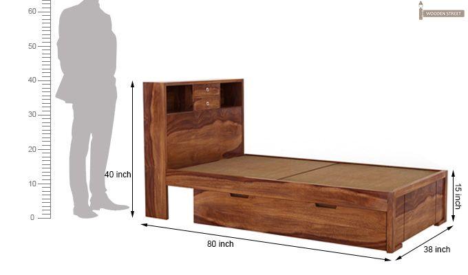 Felton Single Bed With Storage (Teak Finish)-4