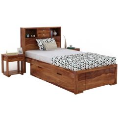 Felton Single Bed With Storage (Teak Finish)