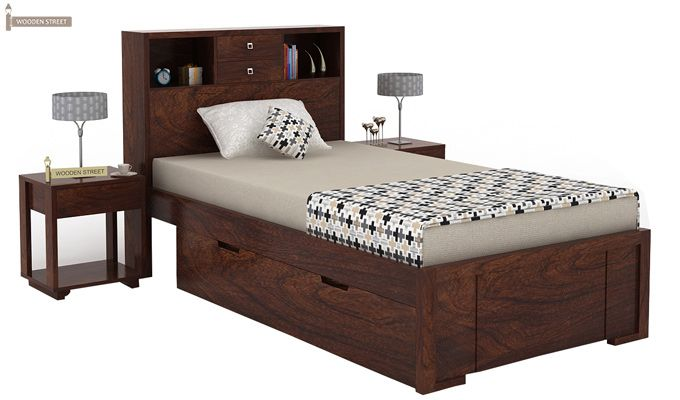 Felton Single Bed With Storage (Walnut Finish)-1