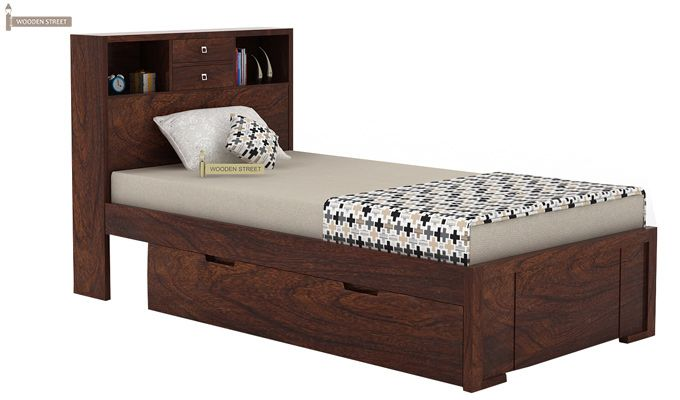 Felton Single Bed With Storage (Walnut Finish)-2