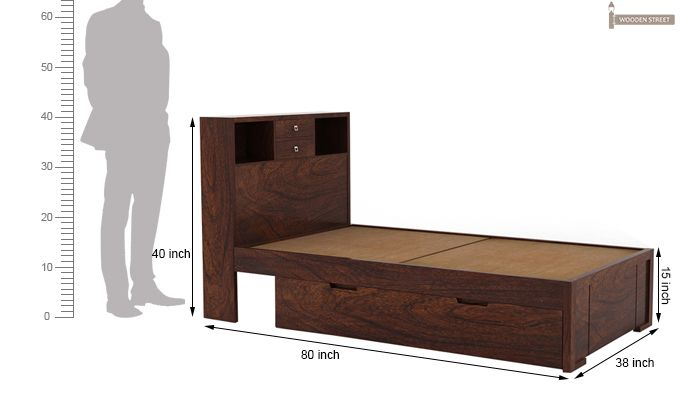 Felton Single Bed With Storage (Walnut Finish)-4