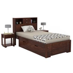 Felton Single Bed With Storage (Walnut Finish)