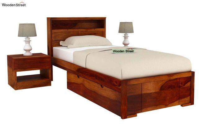 Ferguson Single Bed With Storage (Honey Finish)-2