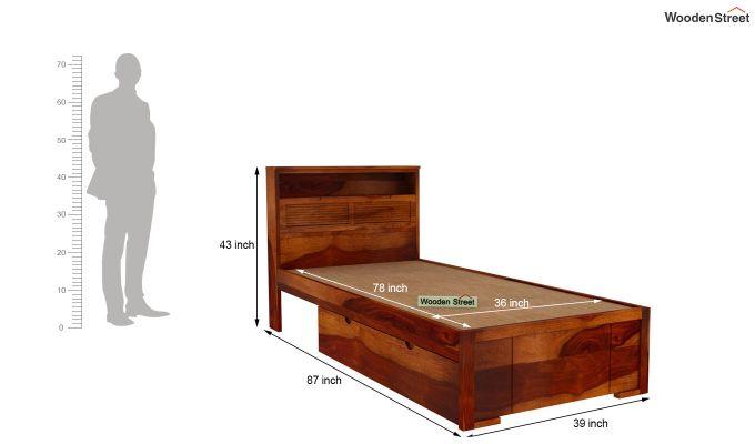 Ferguson Single Bed With Storage (Honey Finish)-6