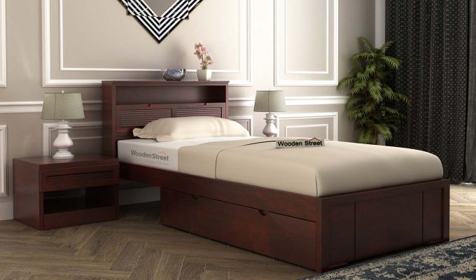 Ferguson Single Bed With Storage (Mahogany Finish)-1