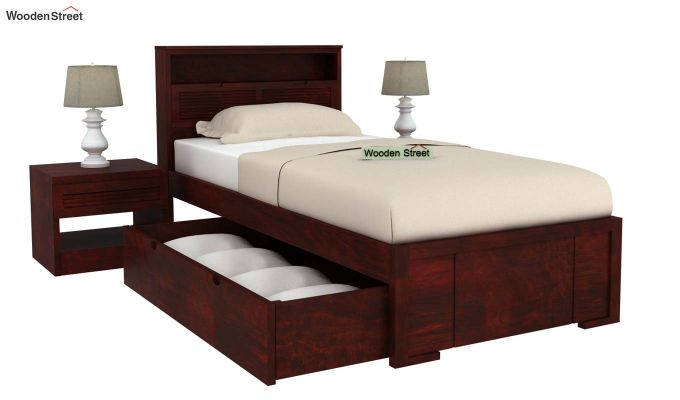 Ferguson Single Bed With Storage (Mahogany Finish)-5