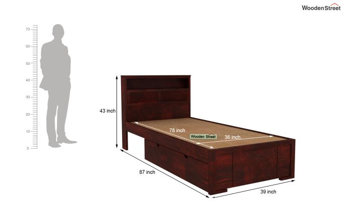 Ferguson Single Bed With Storage (Mahogany Finish)-6
