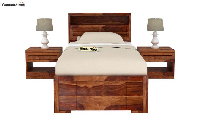 Ferguson Single Bed With Storage (Teak Finish)-3