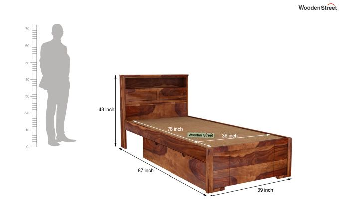 Ferguson Single Bed With Storage (Teak Finish)-6