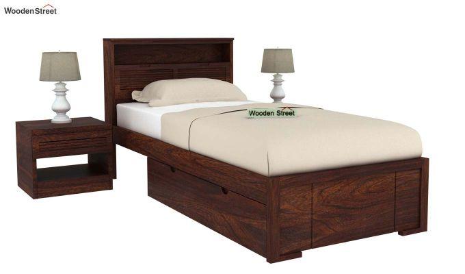 Ferguson Single Bed With Storage (Walnut Finish)-2