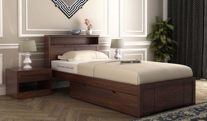 Ferguson Single Bed With Storage (Walnut Finish)-1
