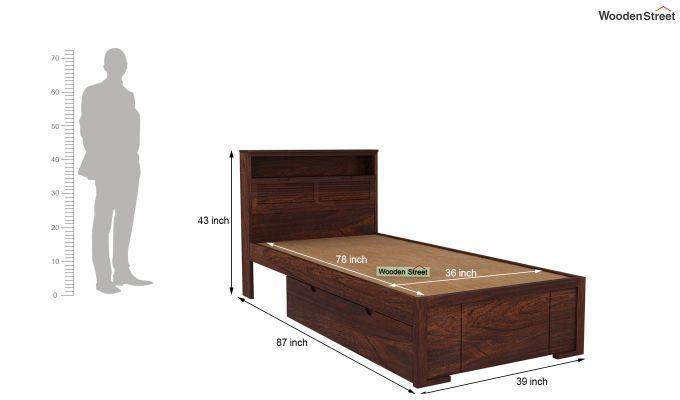 Ferguson Single Bed With Storage (Walnut Finish)-6