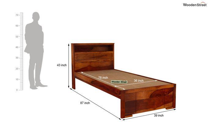 Ferguson Single Bed Without Storage (Honey Finish)-5