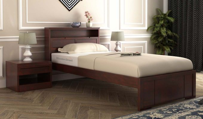 Ferguson Single Bed Without Storage (Mahogany Finish)-1
