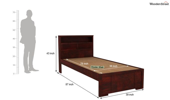 Ferguson Single Bed Without Storage (Mahogany Finish)-5