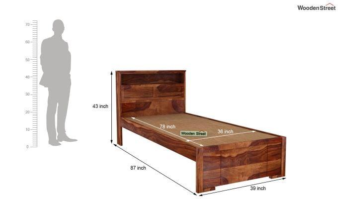 Ferguson Single Bed Without Storage (Teak Finish)-5
