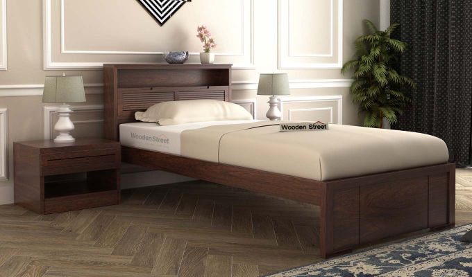 Ferguson Single Bed Without Storage (Walnut Finish)-1