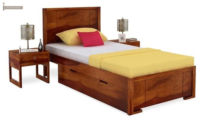 Gary Single Bed With Storage (Honey Finish)-2