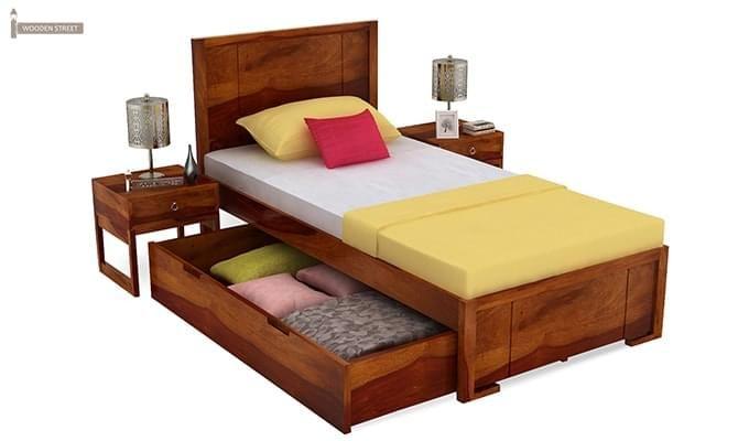 Gary Single Bed With Storage (Honey Finish)-4