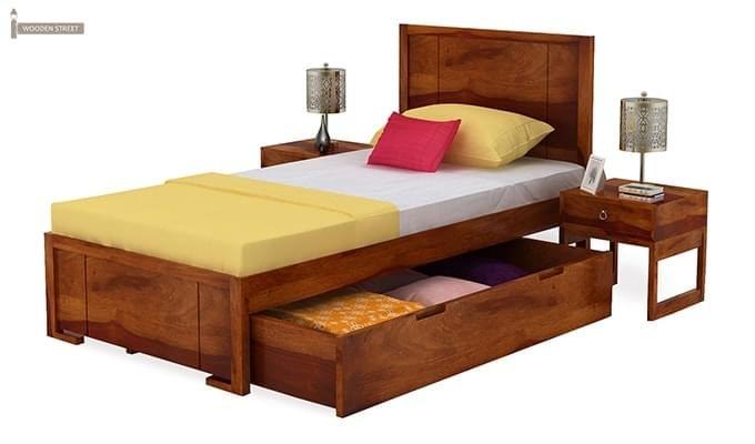 Gary Single Bed With Storage (Honey Finish)-5