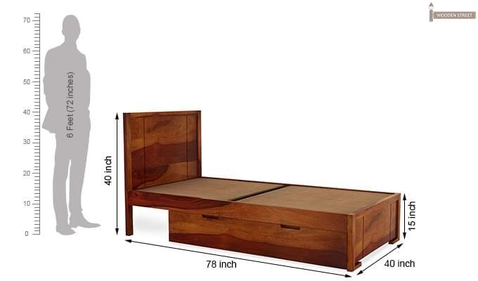 Gary Single Bed With Storage (Honey Finish)-8