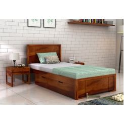 Gary Single Bed With Storage (Honey Finish)