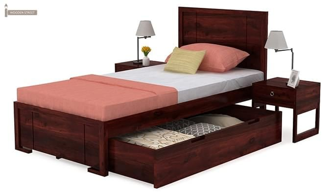 Gary Single Bed With Storage (Mahogany Finish)-4