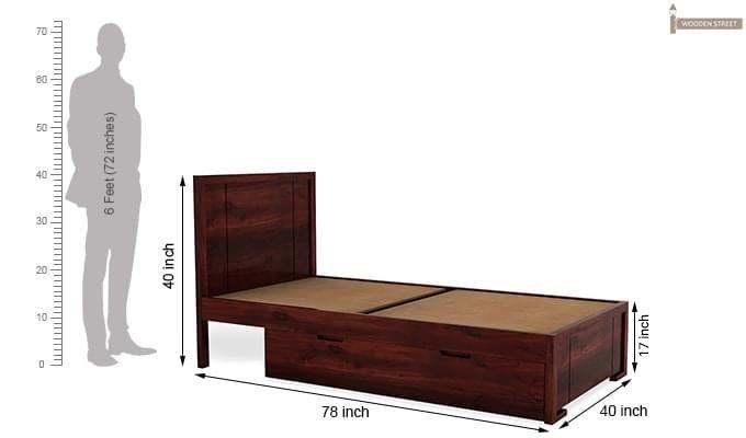 Gary Single Bed With Storage (Mahogany Finish)-7