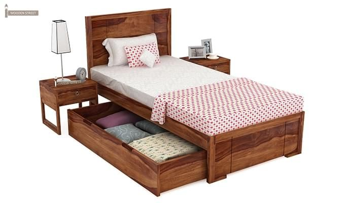 Gary Single Bed With Storage (Teak Finish)-3