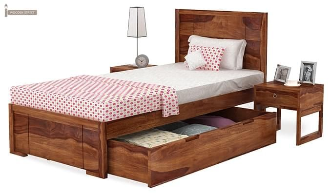 Gary Single Bed With Storage (Teak Finish)-4