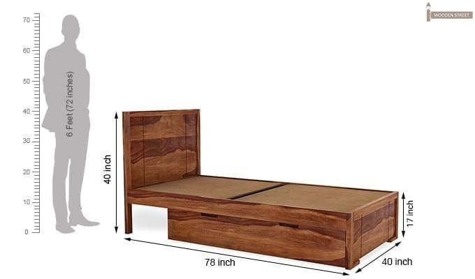 Gary Single Bed With Storage (Teak Finish)-7
