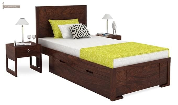 Gary Single Bed With Storage (Walnut Finish)-1