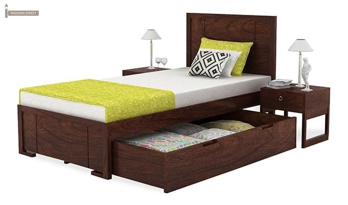Gary Single Bed With Storage (Walnut Finish)-4