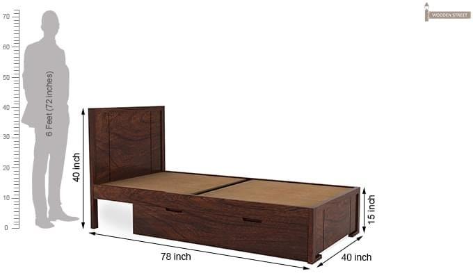 Gary Single Bed With Storage (Walnut Finish)-7