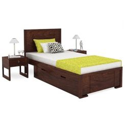 Gary Single Bed With Storage (Walnut Finish)