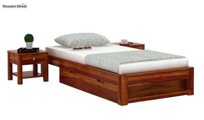Hout Single Bed With Storage (Honey Finish)-1