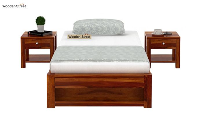 Hout Single Bed With Storage (Honey Finish)-2
